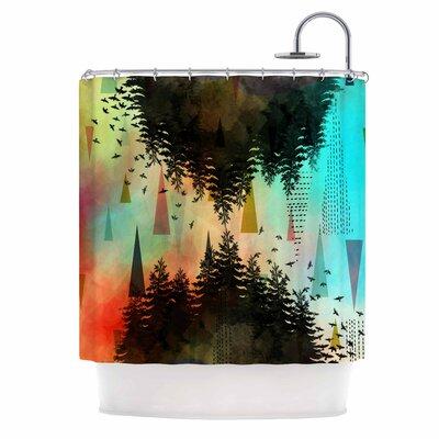 As Above, So Below by AlyZen Moonshadow Shower Curtain Color: Orange/Teal