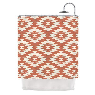 Navajo by Amanda Lane Tribal Geometric Shower Curtain Color: Red