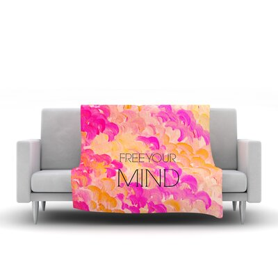 Free Your Mind Fleece Throw Blanket Size: 80 L x 60 W, Color: Pink