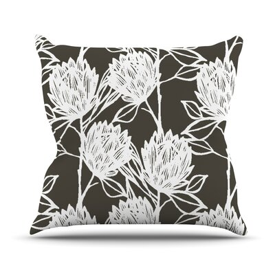 Protea Outdoor Throw Pillow Color: Graphite White