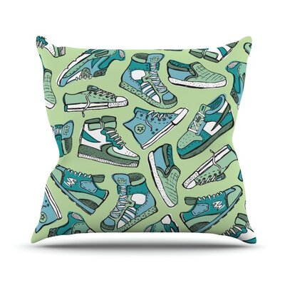 Sneaker Lover by Brienne Jepkema Outdoor Throw Pillow Color: Green/Blue