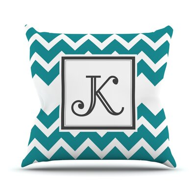 Monogram Chevron Outdoor Throw Pillow Color: Teal