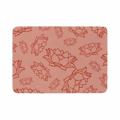 Lotus Pattern Original Memory Foam Bath Mat Color: Red