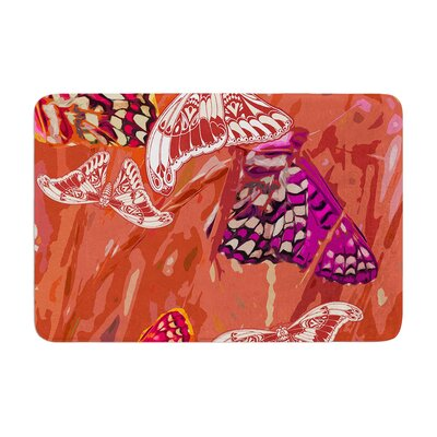 Butterflies Party by Vikki Salmela Bath Mat Color: Orange