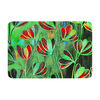 Effloresence by Ebi Emporium Bath Mat Color: Red/Green, Size: 24 W x 36 L