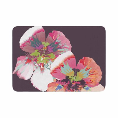 Graphic Flower Nasturtium by Love Midge Memory Foam Bath Mat Size: 36 L x 24 W, Color: Lavender