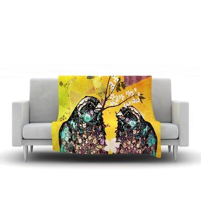 Birds In Love Fleece Throw Blanket Size: 40 L x 30 W, Color: Yellow