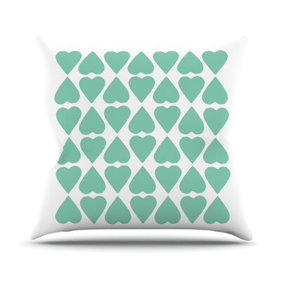 Diamond Hearts Outdoor Throw Pillow Color: Green