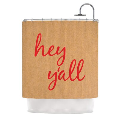 Hey Yall Shower Curtain Color: Red