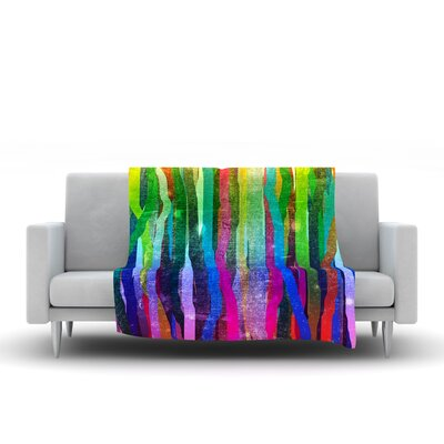 Jungle Stripes by Frederic Levy-Hadida Fleece Throw Blanket Size: 40 L x 30 W, Color: Rainbow