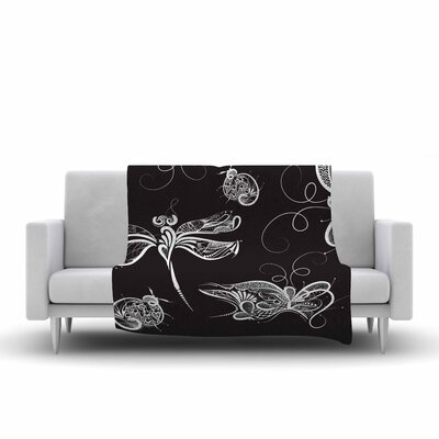 Insects Fleece Throw Blanket Size: 90 L x 90 W