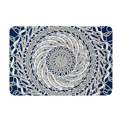 Mandala Spin by Patternmuse Bath Mat Color: Navy, Size: 24 W x 36 L