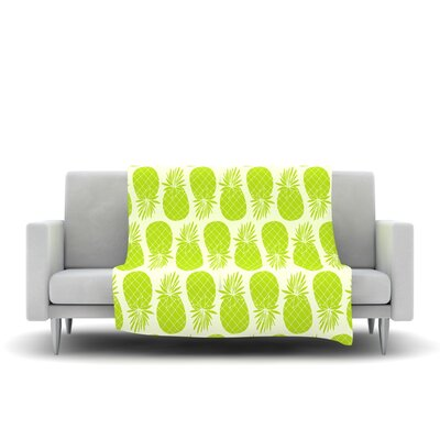Pinya Lime by Anchobee Fleece Throw Blanket Size: 80 x 60, Color: Lime