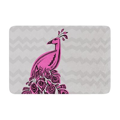 Peacock by Brienne Jepkema Bath Mat Color: Purple, Size: 17W x 24L