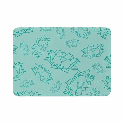Lotus Pattern Bath Mat Color: Teal