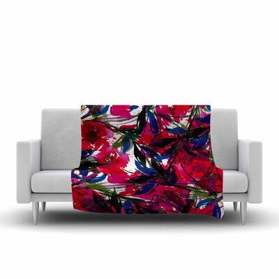 Floral Fiesta Fleece Throw Blanket Size: 80 L x 60 W, Color: Red