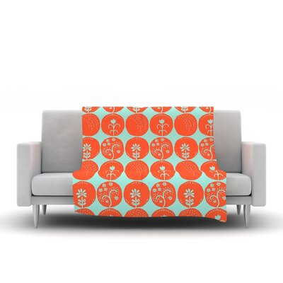 Dotty Papercut by Anneline Sophia Fleece Throw Blanket Size: 80 L x 60 W, Color: Orange