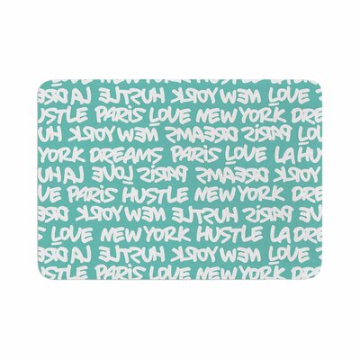 Lux Writing by Just L Memory Foam Bath Mat Color: White/Teal, Size: 24 L x 17 W
