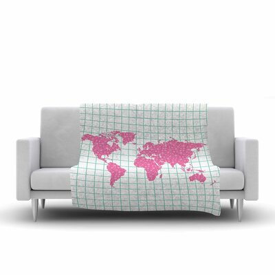 Map Fleece Throw Blanket Size: 90 L x 90 W