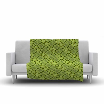 Leafy Lozenges Fleece Throw Blanket Size: 90 L x 90 W