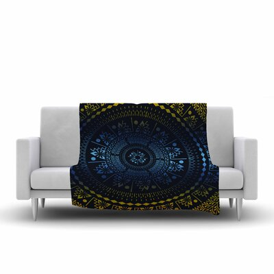 Queen Boho Mandala Fleece Throw Blanket Size: 90 L x 90 W