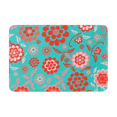 Cherry Floral by Nicole Ketchum Bath Mat Color: Sea