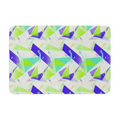 Confetti Triangles by Alison Coxon Bath Mat Color: Blue, Size: 17W x 24L