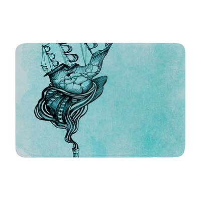 All Aboard by Graham Curran Bath Mat Color: Teal, Size: 24 W x 36 L