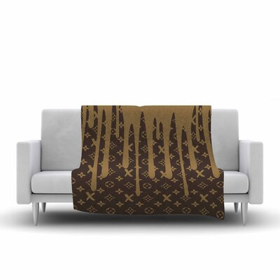 LX Drip Fleece Throw Blanket Color: Brown, Size: 80 L x 60 W