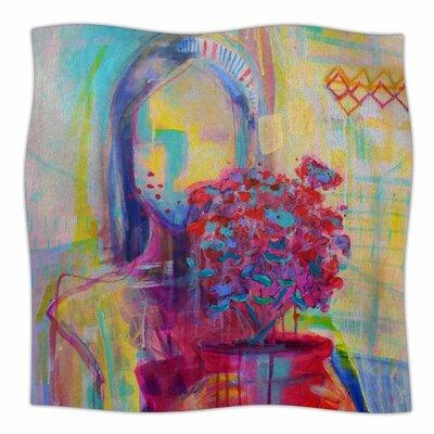 Girl with Plants III Fleece Throw Blanket Size: 90 L x 90 W