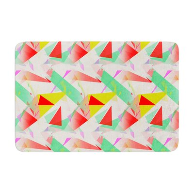 Confetti Triangles by Alison Coxon Bath Mat Color: Red, Size: 17W x 24L