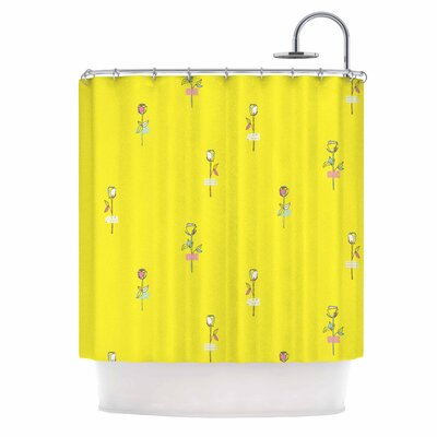 Rosewall by MaJoBV Floral Shower Curtain Color: Yellow