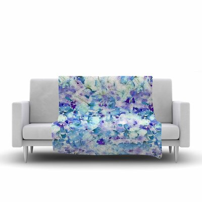 Floral Fantasy by Carolyn Greifeld Fleece Blanket Color: Blue