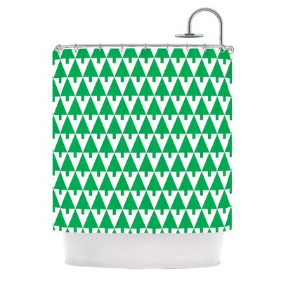 Happy X-Mas by Gabriela Fuente Geometric Shower Curtain Color: Green