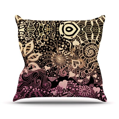 Neptunes Garden by Monika Strigel Outdoor Throw Pillow Color: Black/Pink