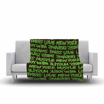 Lux Writing Fleece Throw Blanket Size: 80 L x 60 W, Color: Green/Brown