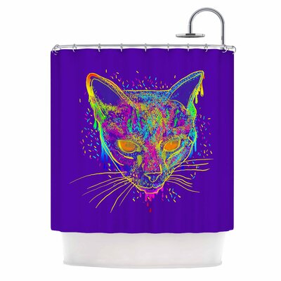 Candy Cat by Frederic Levy-Hadida Shower Curtain Color: Purple/ Rainbow