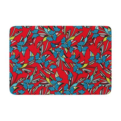 Paper Leaf by Michelle Drew Bath Mat Color: Red