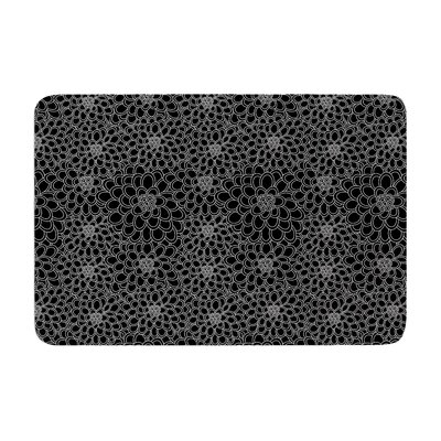 Flowers by Julia Grifol Bath Mat Color: Black, Size: 24 W x 36 L