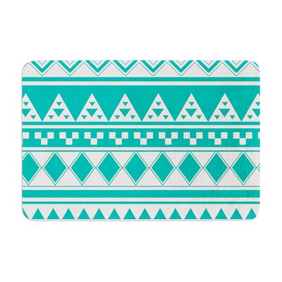 Aztec by Belinda Gillies Bath Mat Color: Turquoise, Size: 17W x 24L