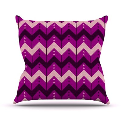 Chevron Dance by Nick Atkinson Outdoor Throw Pillow Color: Purple