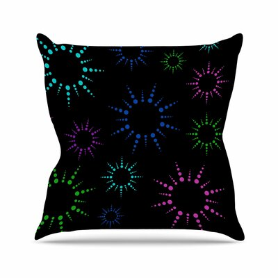 Rainbow Fireworks Throw Pillow Size: 26 H x 26 W x 7 D, Color: Black