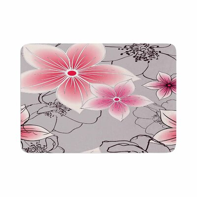 Floral by Alison Coxon Memory Foam Bath Mat Color: Gray/Pink