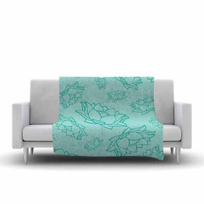 Lotus Pattern Fleece Blanket Color: Teal