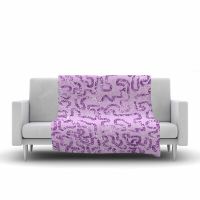 Squiggles by Anneline Sophia 40 Fleece Throw Blanket Size: 80 L x 60 W, Color: Purple