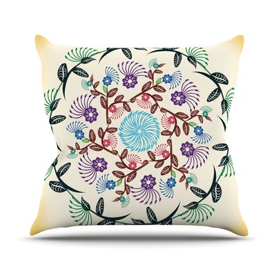 Nature Mandala by Famenxt Throw Pillow Size: 26 H x 26 W x 5 D