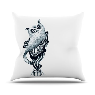 Owl by Graham Curran Outdoor Throw Pillow Color: White
