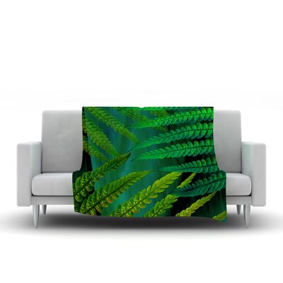 Forest Fern by Alison Coxon Fleece Throw Blanket Size: 40 L x 30 W, Color: Green