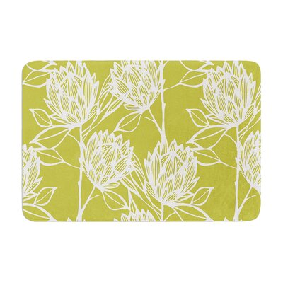 Protea by Gill Eggleston Bath Mat Color: Olive/White, Size: 24 W x 36 L