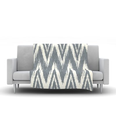 Tribal Chevron Fleece Throw Blanket Size: 80 L x 60 W, Color: Gray